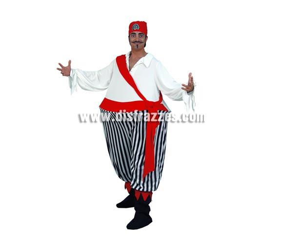 Disfraz de Pirata Gordo para hombre. Talla standar M-L = 52/54. Incluye traje y pañuelo.