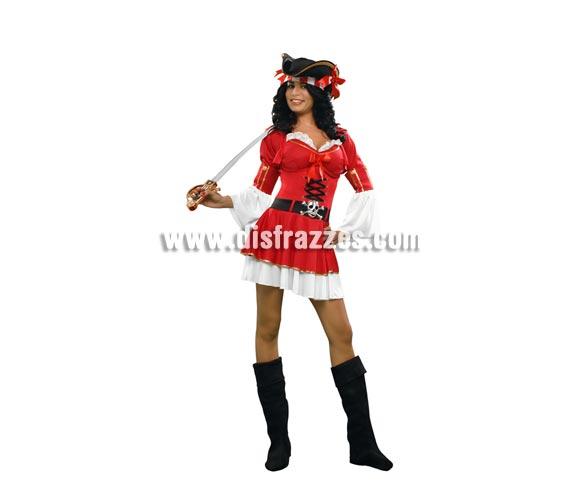 Disfraz de Pirata Corsaria para mujer. Talla standar M-L = 38/42. Incluye vestido, chaqueta, sombrero y cubrebotas. Espada NO incluida, podrás encontrar en nuestra sección de Complementos.
