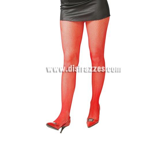 Pantys rojas de malla pequeña para mujer.