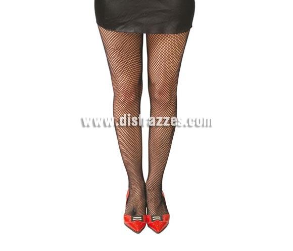 Pantys negras de malla pequeña para mujer.
