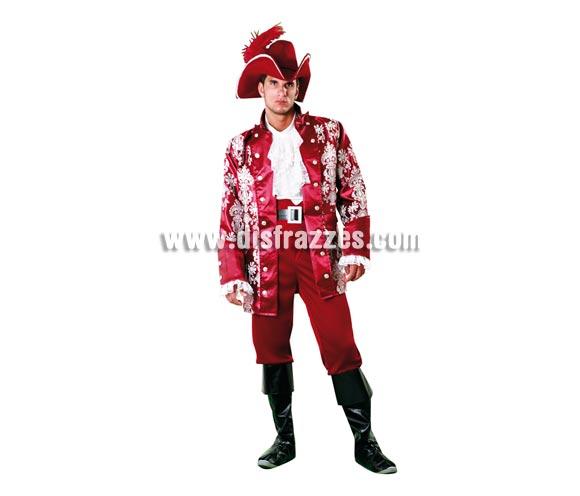 Disfraz de Lord Pirata Granate para hombre. Talla standar M-L = 52/54. Incluye sombrero, pecherín, chaqueta, cinturón, pantalón y cubrebotas.