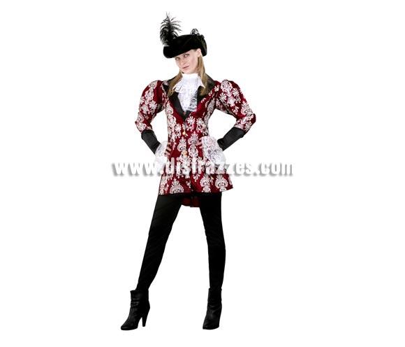 Disfraz de Pirata Elegante para mujer. Talla standar M-L = 38/42. Incluye sombrero, pecherín, chaqueta y pantalón.