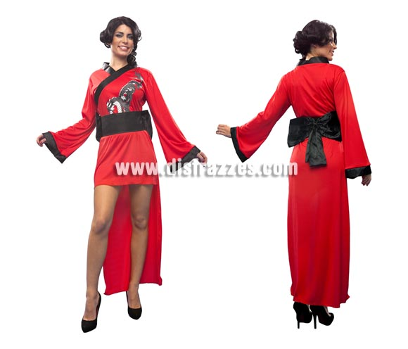 Disfraz de Doncella Oriental para mujer. Talla standar M-L = 38/42. Incluye vestido, cinturón y lazo. Precioso disfraz de Geisha para mujer.