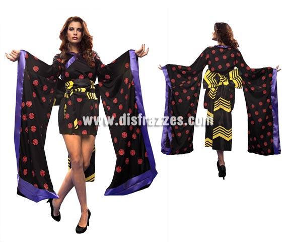 Disfraz de Geisha Negra para mujer. Talla standar M-L = 38/42. Incluye vestido, cinturón con lazo.