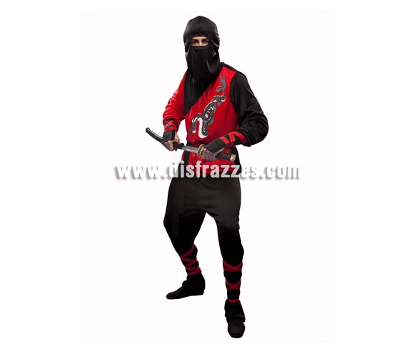 Disfraz de Dragón Ninja para hombre. Talla standar M-L = 52/54. Incluye camiseta, pantalón, cinturón, capucha y muñequeras. Espada NO incluida, podrás encontrar en nuestra sección de Complementos.