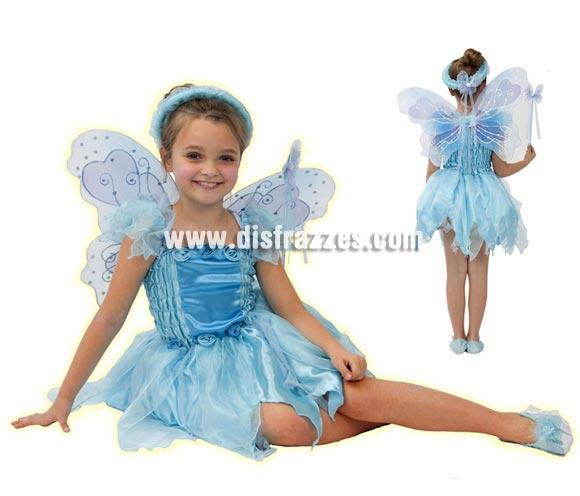 Disfraz de Hada Azul para niñas de 5 a 6 años. Incluye vestido, alas, varita y corona.