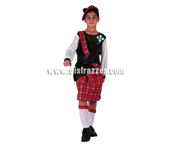 Disfraz de Escocés para niños de 5 a 6 años. Incluye polainas, falda, camiseta, banda, cinturón y boina.