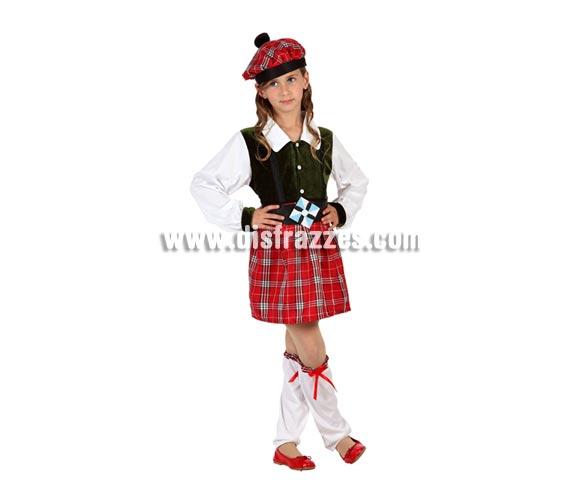 Disfraz de Escocesa para niñas de 7 a 9 años. Incluye polainas, falda, camiseta con chaleco, cinturón y boina.