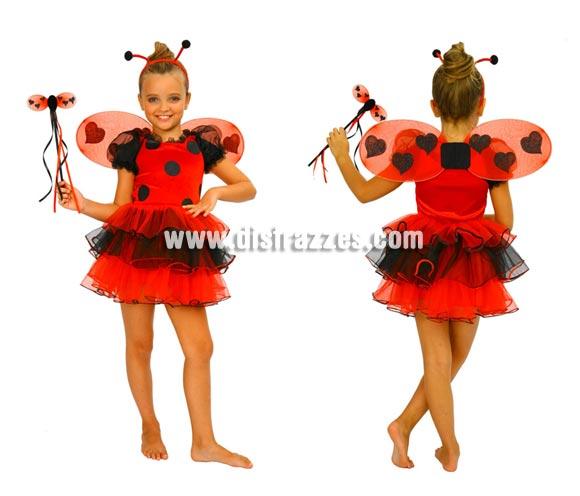 Disfraz de Mariquita para niñas de 3 a 4 años. Incluye vestido con volantes, alas, varita y diadema.