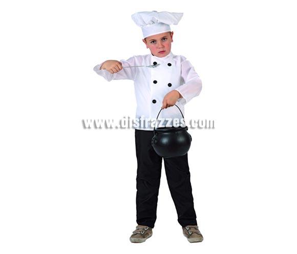 Disfraz de Cocinero para niños de 7 a 9 años. Incluye camisa, pantalón y gorro.