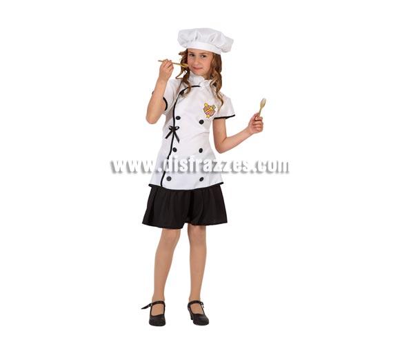 Disfraz de Cocinera para niñas de 5 a 6 años. Incluye falda, camisa y gorro.