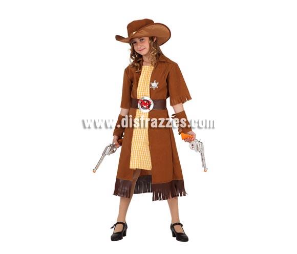Disfraz de Vaquera o Pistolera para niñas de 5 a 6 años. Incluye disfraz completo SIN pistolas, NI zapatos. Las pistolas podrás verlas en la sección de Complementos.
