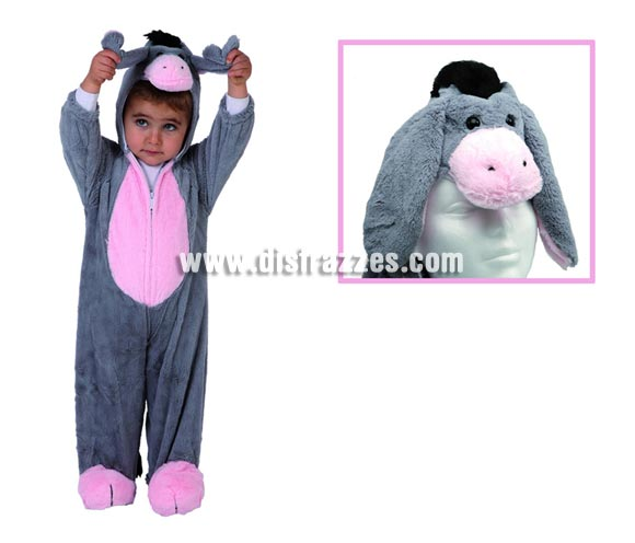 Disfraz de Burro, Burra o Burrita para niños de 3 a 4 años. Incluye mono con capucha.