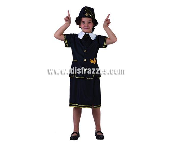 Disfraz de Azafata de vuelo para niñas de 7 a 9 años. Incluye falda, camisa y gorro.