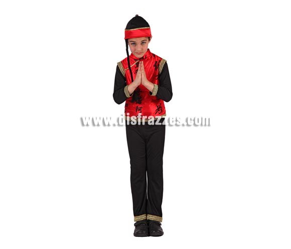 Disfraz de Chino para niños de 7 a 9 años. Incluye pantalón, camisa y gorro.