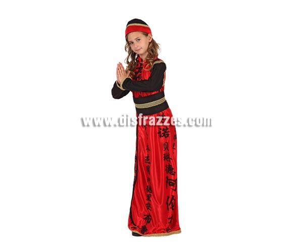 Disfraz de China para niñas de 7 a 9 años. Incluye vestido, fajín y gorro.