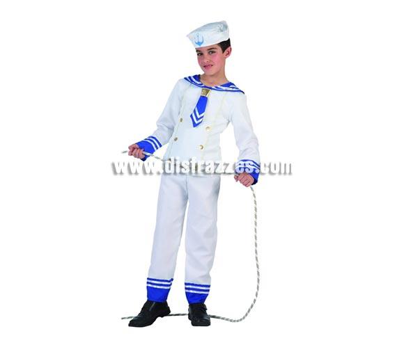 Disfraz de Marinero para niños de 3 a 4 años. Incluye pantalón, camisa y gorro. Cuerda NO incluida.