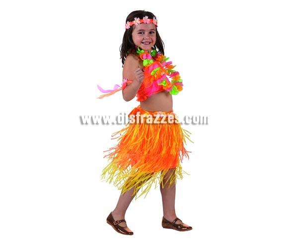 Disfraz de Hawaiana para niñas de 7 a 9 años. Incluye falda, top, collar, corona y brazaletes.