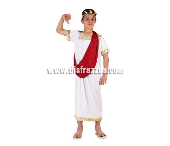 Disfraz de Romano para niños de 5 a 6 años. Incluye túnica, manto y corona.