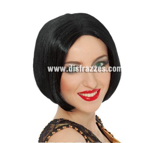 Peluca corta negra lisa adulta para Carnavales.