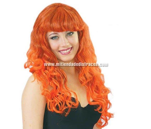 Peluca rizos mechas naranja. Perfecta como peluca de Bruja.
