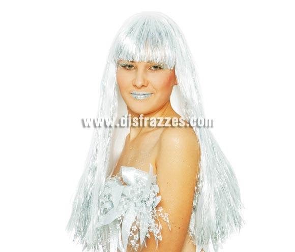 Peluca Drag Queen larga blanca para Carnaval. También nos la han pedido para disfrazarse de Bruja.