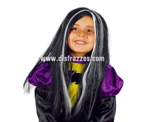 Peluca de Bruja o de Morticia negra con mechas blancas infantil para Halloween.