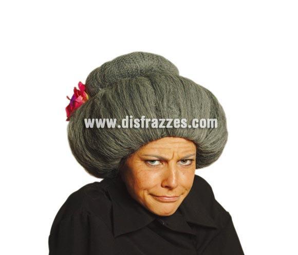 Peluca vieja grande. Flor incluida. Ideal para el disfraz de Abuela Sexy referencia 80229GUI o para disfrazarte con lo que sea, incluso con la ropa de tu abuela, ¡que no te pille cogiéndosela!