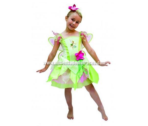 Disfraz de Campanilla. Talla de 3 a 4 años. Incluye diadema, vestido con luz y alas. Disfraz con licencia Disney ideal para regalar a una niña. El Hada de Peter Pan.