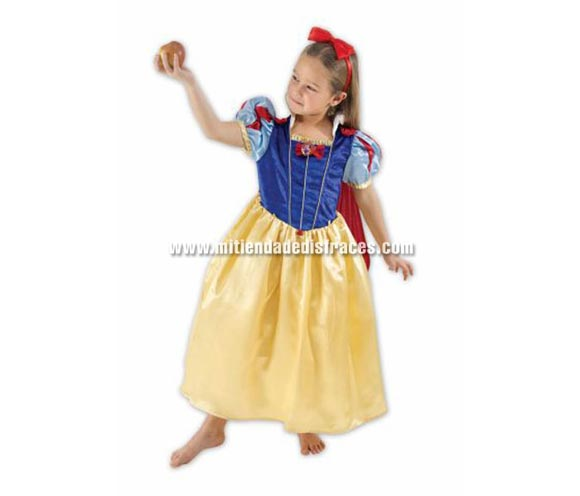 Disfraz de Blancanieves. Talla de 9 a 10 años. Incluye diadema y vestido con capa. Disfraz con licencia Disney. Ideal para regalar.