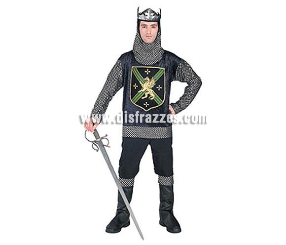 Disfraz de Rey Guerrero adulto Medieval. Talla Universal de hombre. Incluye traje casaca, cubrebotas y corona. Espada y pantalón NO incluidos..