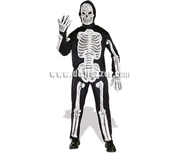 Disfraz de Esqueleto Huesos en 3D adulto para Halloween. Talla única. Incluye disfraz con huesos moldeados en 3D, guantes con huesos y máscara con movimiento de mandíbula.