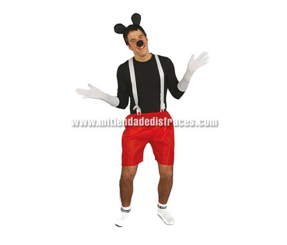 Conjunto Ratón adulto. Incluye orejas, nariz, tirantes y pantalones.