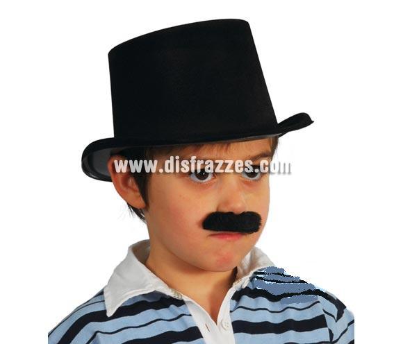 Sombrero Chistera flocado negro infantil para Carnaval y para obras de teatro en el Colegio.
