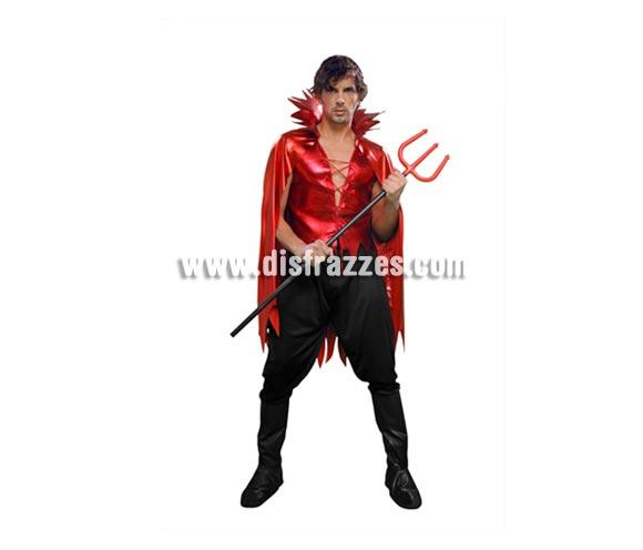 Disfraz de Demonio o Diablo adulto para Halloween. Talla Standar M-L = 52/54. Disfraz para Halloween barato que incluye chaleco con capa y pantalones. Tridente NO incluido, podrás verlo en la sección de Complementos. Éste disfraz de Halloween.
