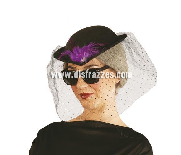 Sombrero Viuda de fieltro negro. Perfecto para el día del Entierro de la Sardina. Snif, snif, qué pena, ya se ha acabado el Carnaval!! Al año que viene más.