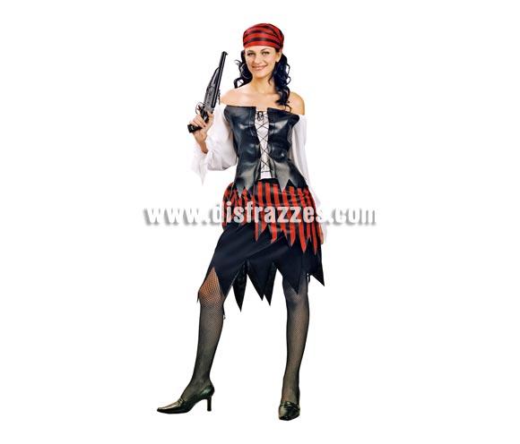 Disfraz de mujer Pirata adulta. Talla Standar M-L = 38/42. Incluye pañuelo, camisa, chaleco y falda. Pistola NO incluida, podrás verla en la sección de Complementos.