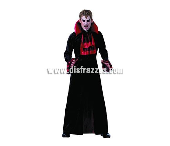 Disfraz de Vampiro adulto lujo para Halloween. Talla Standar M-L = 52/54. Disfraz de Drácula de Halloween de buena calidad que incluye túnica de tela aterciopelada y cuello.