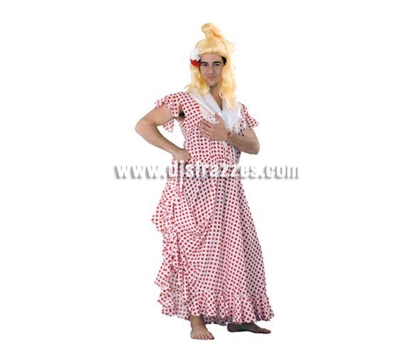 Disfraz barato de Sevillana para hombre. Talla standar M-L 52/54. Incluye vestido y pañuelo. Peluca NO incluida, podrás verla en la sección Pelucas, cualquier peluca es buena, puedes ir de Morena, de Rubia, de Pelirroja, etc. etc. Seguro que de Flamenca o Andaluza estás guapísima, jajajaja.