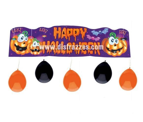 Cartel decorativo de 88 cm, con 5 globos naranjas. Happy Halloween. Artículo muy apropiado para decoración de Halloween en Discotecas, Pub's, Restaurantes, Colegios y Casas particulares y así crear un ambiente terrorífico y tenebroso típico de la Fiesta de Halloween cada vez más seguida por todos. ¡¡Cómpranos la decoración para Halloween, será divertido!!