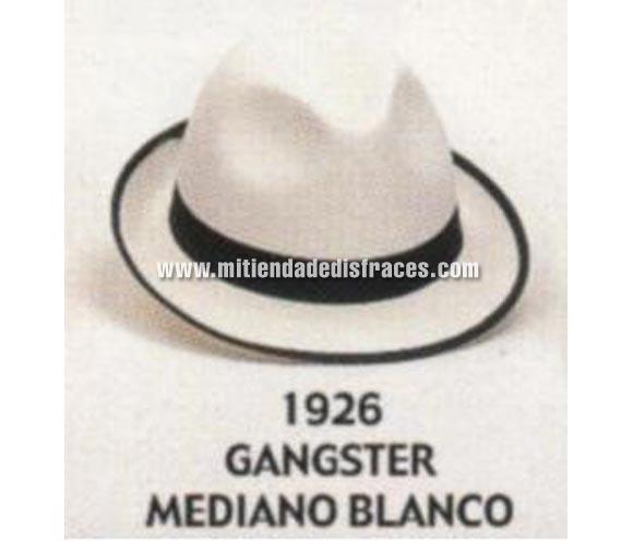Sombrero de Ganster mediano blanco. Buena calidad, fabricado artesanalmente en España. Posibilidad de ajuste de precio para grupos. Sombrero de Michael Jackson.