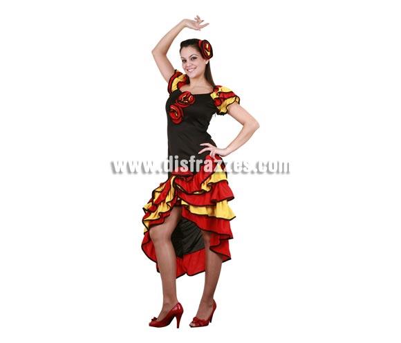 Disfraz de Bailaora Flamenca para mujer. Disfraz de Sevillana. Disfraz de Rumbera. Talla Standar M-L = 38/42. Incluye flor del pelo y vestido con flores.