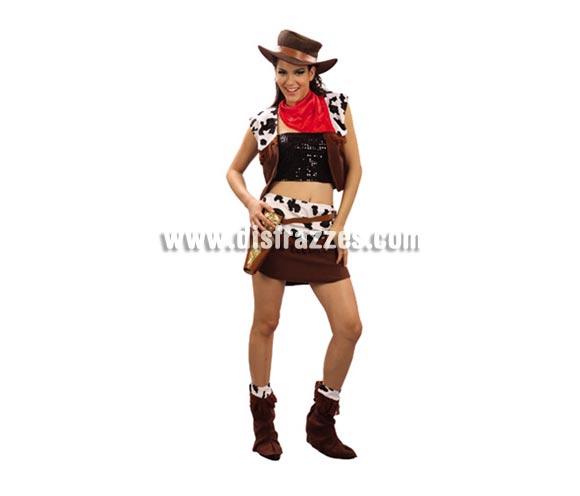 Disfraz barato de Vaquera para mujer. Talla standar M-L  38/42. Incluye chaleco, falda, pañuelo y cubrebotas. Sombrero, cartucheras, cinturón, top y pistolas NO incluidos.