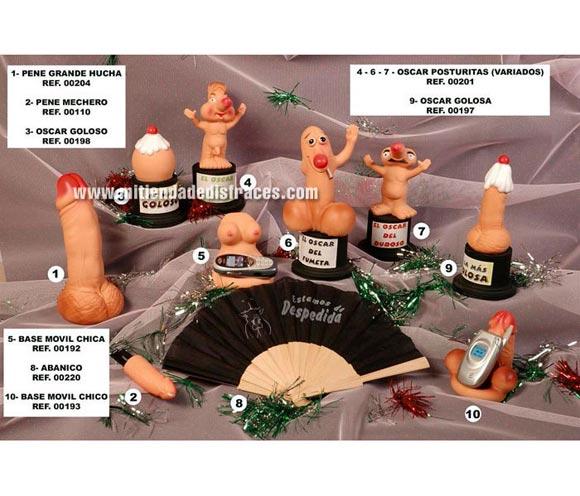 Oscar con figuras en forma de pene. Hay 6 modelos diferentes. Precio por unidad. Se venden por separado.