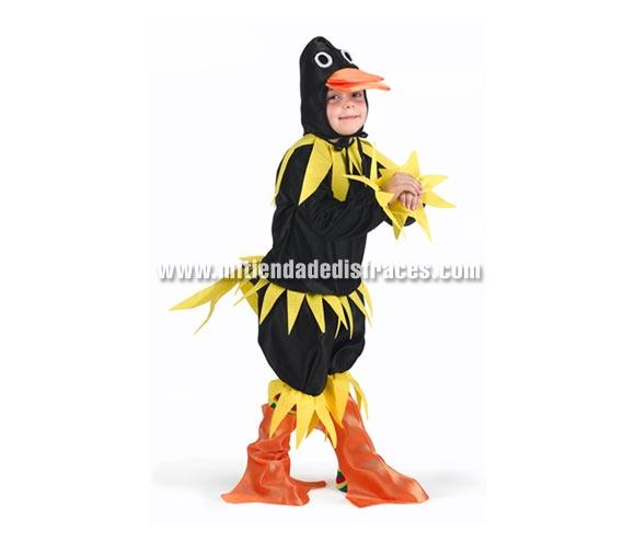 Disfraz de Pato negro niños talla de 10 a 12 años. Incluye camisa, pantalón, pies y gorro. Disfraz del Patito Feo para niños.