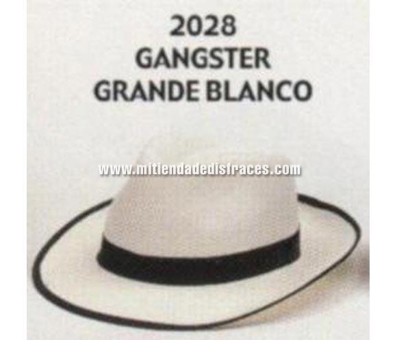 Sombrero de Ganster grande blanco. Buena calidad, fabricado artesanalmente en España. Posibilidad de ajuste de precio para grupos. Sombrero de Michael Jackson.