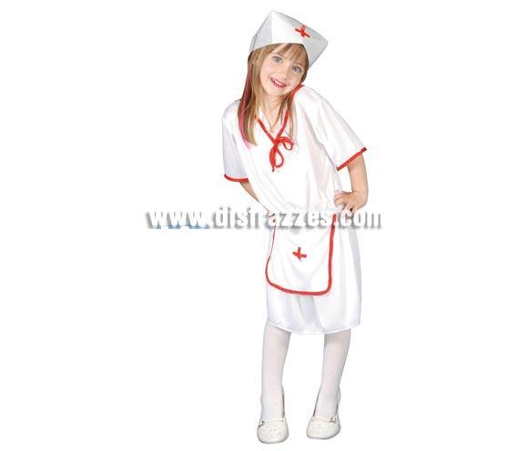 Disfraz super barato de Enfermera para niña de 7 a 9 años. Incluye Gorro, Vestido y Delantal.