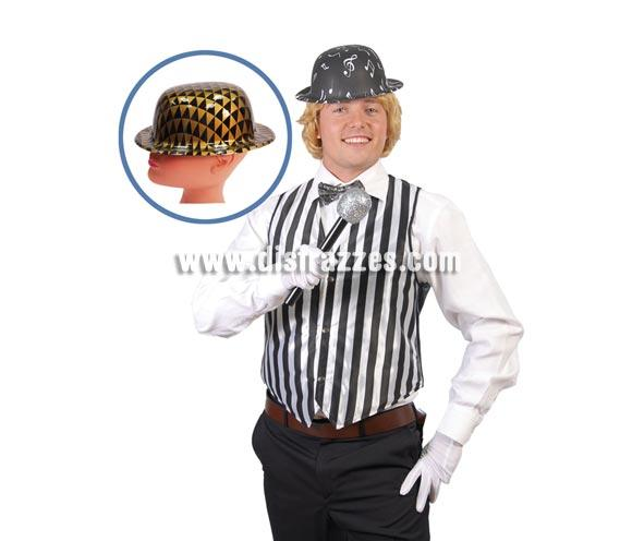 Sombrero Bombín de plástico metalizado. Disponible en 2 colores, precio por unidad, se venden por separado.