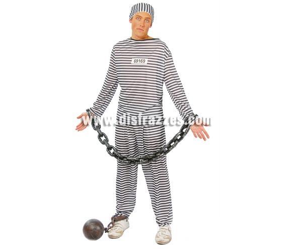 Disfraz barato de Presidiario, Preso o Prisionero adulto para Carnavales. Talla única 52/54. Incluye gorro, camisa y pantalón.  Tela elástica. Disfraz de Preso o Prisionero. Disfraz ideal para despedida de Soltero.