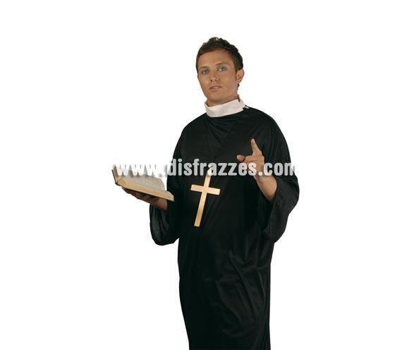 Disfraz barato de Cura adulto para Carnavales. Talla única 52/54. Disfraz de Sacerdote o de Padre. Incluye traje con alzacuellos y también incluye una cruz pequeña. Libro NO incluido.